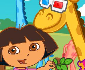 Cuidar da girafa com Dora