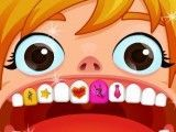 Dentes estragados da menina
