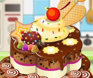 Decorar bolo de chocolate e biscoito