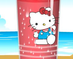 Decorar copo de suco da Hello Kitty