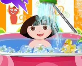 Dora banho de banheira