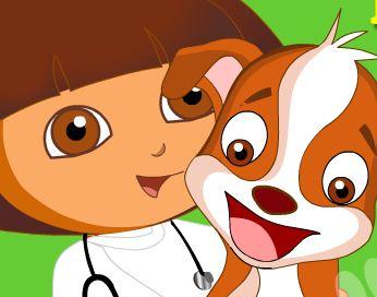 Dora cuidar de cachorros