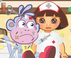 Dora cuidar do Botas no hospital