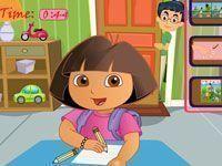 Dora fazendo tarefa de casa