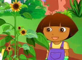 Dora plantar flores