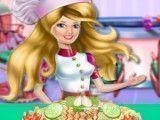 Barbie fazer macarronada de frango com brócolis