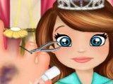 Cuidar do pé da Sofia princesa