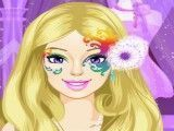Elsa e Barbie pintura facial