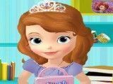 Princesa Sofia arrumar mochila da escola