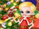 Barbie e Ken criança decorar árvore de natal