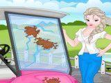 Elsa lavar carro de golfe