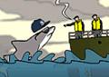 Fugir das mordidas do  tubarão