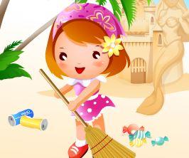 Limpar a poluição da praia