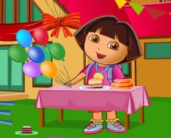 Limpeza da festa de aniversário da Dora
