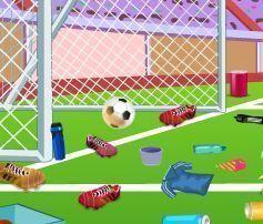 Limpeza do campo de futebol