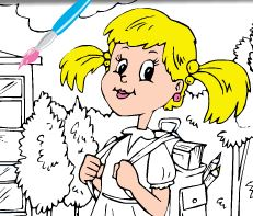 Pintar menina na escola