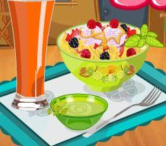 Preparar salada de frutas com sorvete