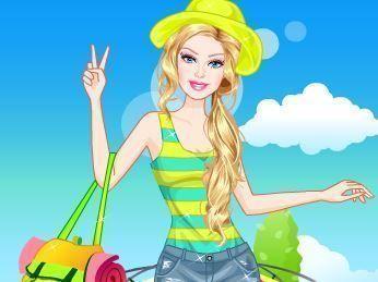 Vestir Barbie no camping