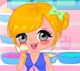 Vestir menina do sorvete